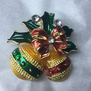 Colorful Christmas ornament brooch lightly jeweled
